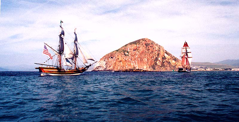Hawaiian Chieftain leads the way as she and Lady Washington enter Morro Bay